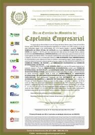 Ata ao Exercício do Ministério de Capelania Empresarial