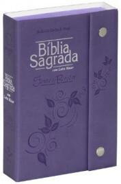 Bíblia Sagrada Letra Grande - Fonte de Bênção - Capa com Botão, Couro Sintético, Violeta